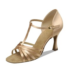 Women's Satin Heels Sandals Latin With T-Strap Dance Shoes (053090355)