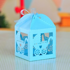 Baby Carriage Cuboid Favor Boxes With Ribbons