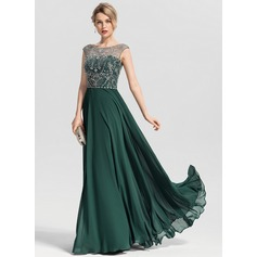 A-Line/Princess Scoop Neck Floor-Length Chiffon Prom Dresses With Beading Sequins (018163269)