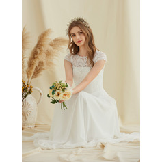 A-Line Scoop Neck Floor-Length Chiffon Lace Wedding Dress (002234880)