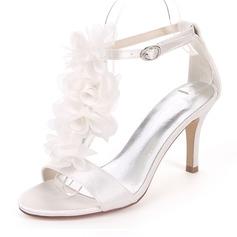Women's Silk Like Satin Stiletto Heel Pumps Sandals With Satin Flower