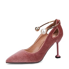 Women's Suede Spool Heel Closed Toe Pumps Sandals With Buckle Imitation Pearl