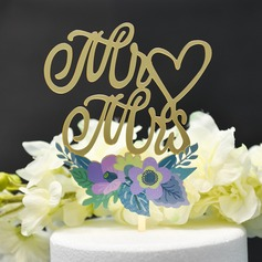 Classic Couple/Mr. & Mrs./Love Is Sweet Acrylic Cake Topper (Sold in a single piece)