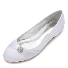 Women's Silk Like Satin Flat Heel Closed Toe Flats With Ribbon Tie Crystal (047187632)