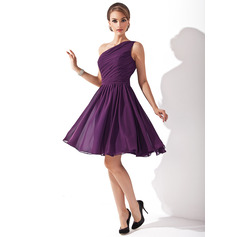A-Line One-Shoulder Knee-Length Chiffon Bridesmaid Dress With Ruffle Bow(s) (007000918)