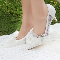 Women's Silk Like Satin Stiletto Heel Pumps With Stitching Lace Flower