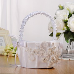 Classic Flower Basket in Cloth With Ribbons/Lace