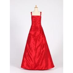 A-Linie/Princess-Linie Rechteckiger Ausschnitt Bodenlang Taft Kleid für junge Brautjungfern mit Rüschen