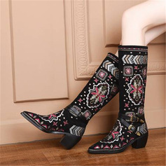 Women's Suede Chunky Heel Knee High Boots With Buckle Flower shoes