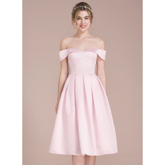 A-Line Off-the-Shoulder Knee-Length Satin Bridesmaid Dress