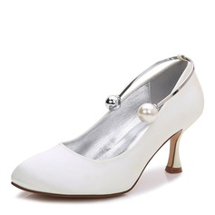 Women's Silk Like Satin Stiletto Heel Closed Toe Pumps With Chain (047187637)