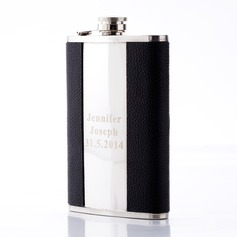 Personalized Treble Clef Brushed Stainless Steel Flask