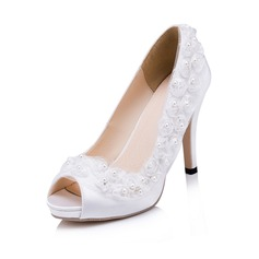 Women's Leatherette Stiletto Heel Pumps With Imitation Pearl Satin Flower