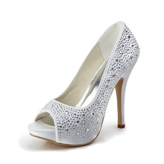 Women's Satin Stiletto Heel Peep Toe Platform Sandals With Rhinestone