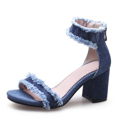Women's Denim Chunky Heel Sandals Pumps Peep Toe With Others shoes