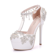 Women's Leatherette Stiletto Heel Closed Toe Platform Pumps With Applique