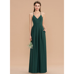A-Line V-neck Floor-Length Stretch Crepe Bridesmaid Dress With Pockets