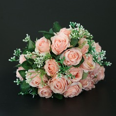 Hand-tied Satin/Lace Bridal Bouquets/Bridesmaid Bouquets (Sold in a single piece) -