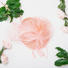 Ladies' Beautiful/Elegant Cotton With Feather/Silk Flower/Tulle Fascinators
