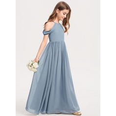 A-Line Scoop Neck Floor-Length Chiffon Junior Bridesmaid Dress With Ruffle (009208591)