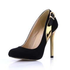 Suede Patent Leather Stiletto Heel Pumps Closed Toe With Buckle shoes
