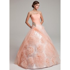 Ball-Gown Strapless Floor-Length Organza Quinceanera Dress With Beading Flower(s) Cascading Ruffles (021017549)