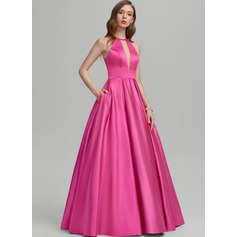 Ball-Gown/Princess Scoop Neck Floor-Length Satin Prom Dresses With Pockets (018224398)