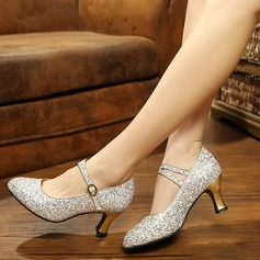 Women's Sparkling Glitter Pumps Ballroom With Ankle Strap Dance Shoes