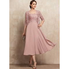 A-Line Square Neckline Tea-Length Chiffon Lace Cocktail Dress With Beading Sequins