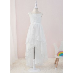 A-Line Asymmetrical Flower Girl Dress - Chiffon/Lace Sleeveless Square Neckline With Ruffles