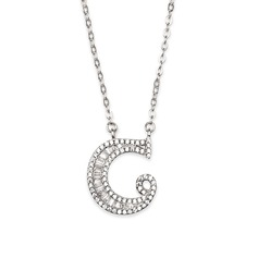 Custom Silver Initial Letter Initial Necklace - Valentines Gifts