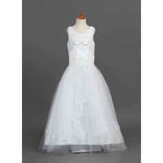 A-Line/Princess Floor-length Flower Girl Dress - Satin/Tulle Sleeveless V-neck With Lace/Bow(s)