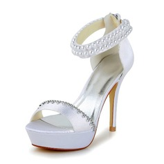 Women's Satin Stiletto Heel Pumps Sandals With Imitation Pearl Rhinestone Zipper