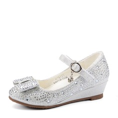 Girl's Closed Toe Microfiber leer sleehak Pumps Bloemenmeisje schoenen met strik Gesp Strass