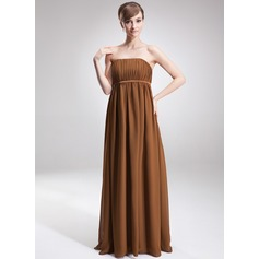 Empire Strapless Floor-Length Chiffon Chiffon Maternity Bridesmaid Dress With Ruffle (045004381)