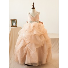Ball Gown Watteau Train Flower Girl Dress - Organza/Tulle Sleeveless Straps With Bow(s)/Rhinestone