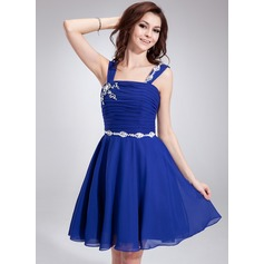 A-Line/Princess Square Neckline Knee-Length Chiffon Homecoming Dress With Ruffle Beading (022021007)
