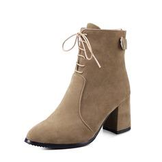 Vrouwen Suede Chunky Heel Pumps Enkel Laarzen met Vastrijgen schoenen