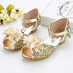 Girl's Peep Toe Leatherette Low Heel Pumps Flower Girl Shoes With Buckle Sequin Sparkling Glitter Flower