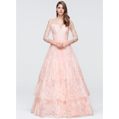 Duchesse-Linie Off-the-Schulter Bodenlang Lace Abiballkleid