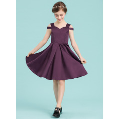 A-Line Sweetheart Knee-Length Satin Junior Bridesmaid Dress
