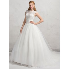 Ball-Gown Scoop Neck Chapel Train Organza Lace Wedding Dress With Beading Sequins (002083694)