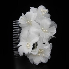 Ladies Simple Imitation Pearls/Silk Flower Combs & Barrettes