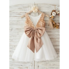 Champagne Gold Lace Ivory Tulle Wedding Flower Girl Knee-length Dress with Deep V Back/ Bow