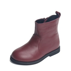 Unisex Real Leather Flat Heel Closed Toe Boots With Zipper
