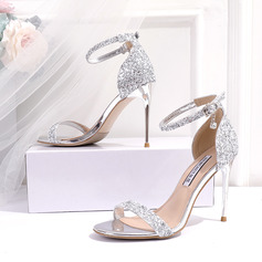 Women's Leatherette Sparkling Glitter Stiletto Heel Peep Toe Sandals With Sequin (047219334)