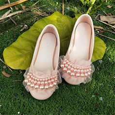 Girl's Round Toe Closed Toe Microfiber Leather Flat Heel Flats With Flower
