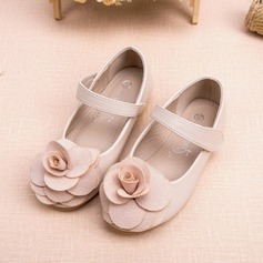 Girl's Closed Toe Leatherette Flat Heel Flats Flower Girl Shoes With Flower (207095559)