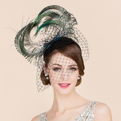 Dames Luxe Tule met Feather Fascinators