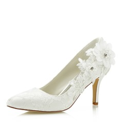 Women's Lace Satin Stiletto Heel Closed Toe With Flower Applique